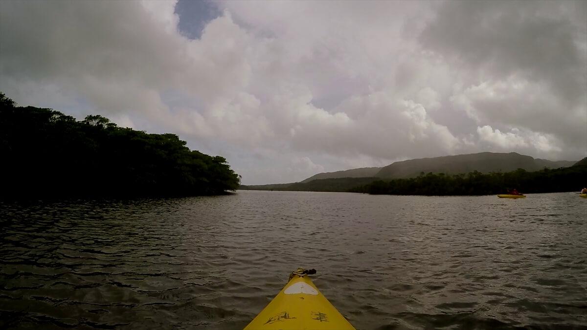 カヌーと川とマングローブと青空の写真