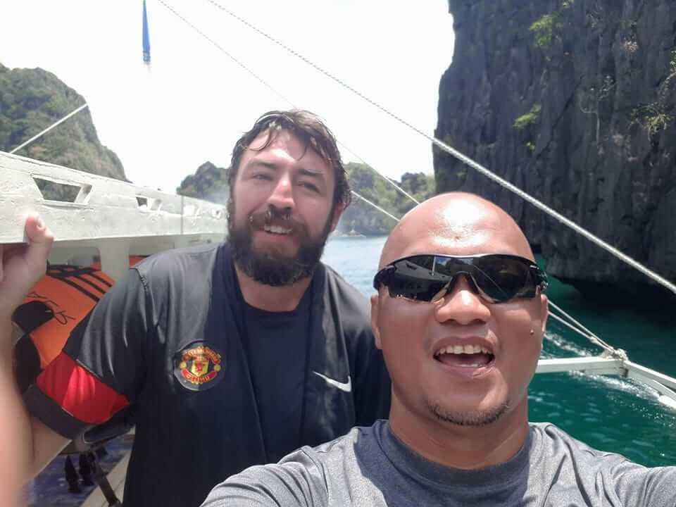 エルニドで会ったフィリピン人とアイルランド人の写真