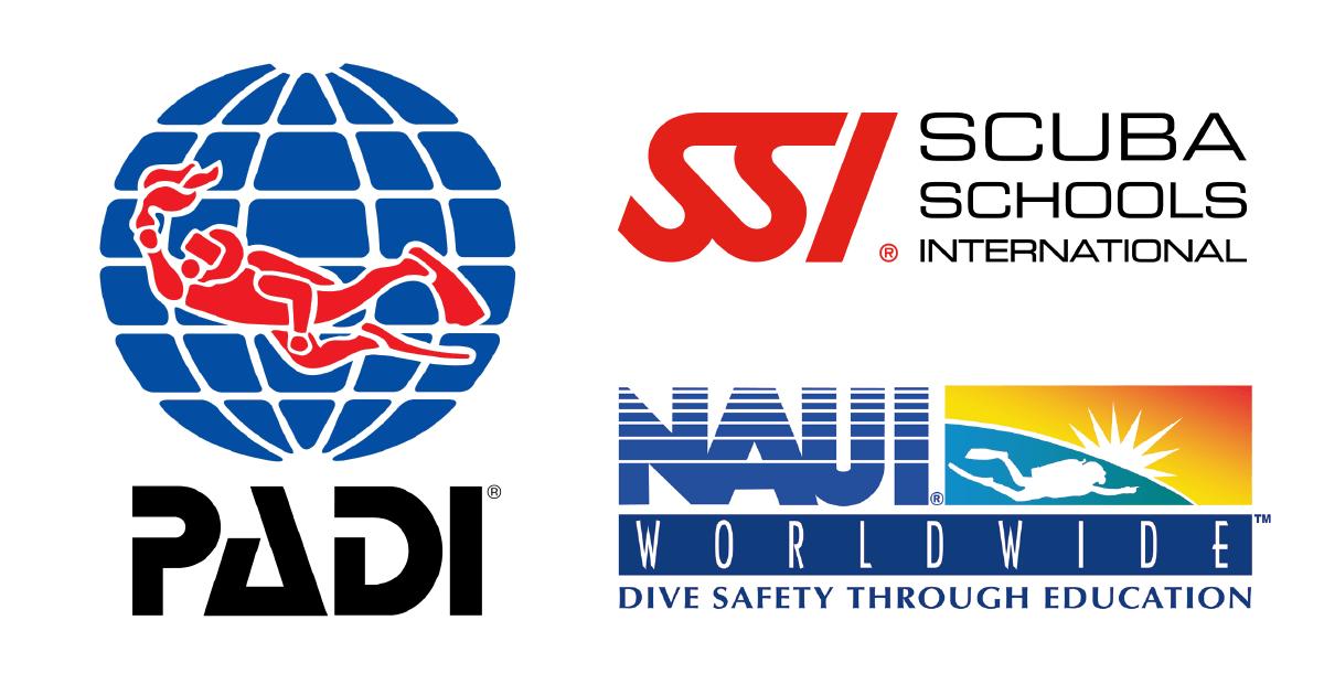 PADI・NAUI・SSIのロゴ画像